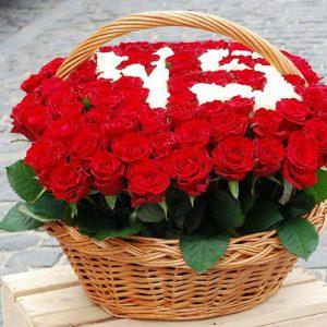 корзина 101 роза с числами