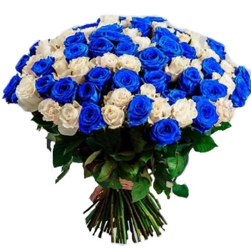 фото букета 101 біла і синя троянда