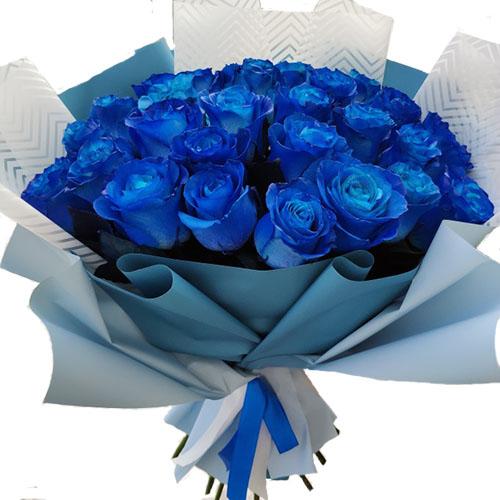 букет 33 сині троянди (фарбовані) фото