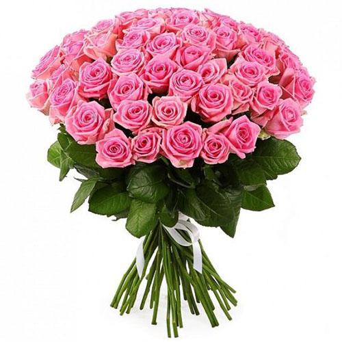 """букет розовых роз 51 роза """"Аква"""""""