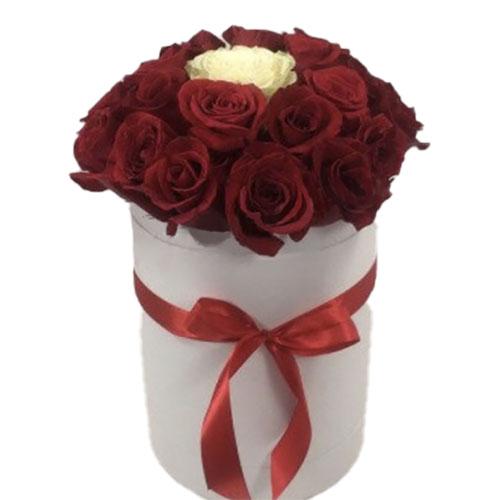 "Коробочка 21 троянда ""Неповторна"" фото букета"