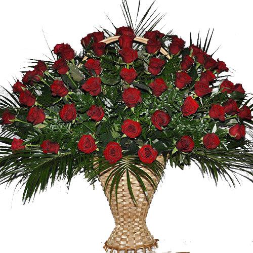 Живые похоронные цветы 60 роз