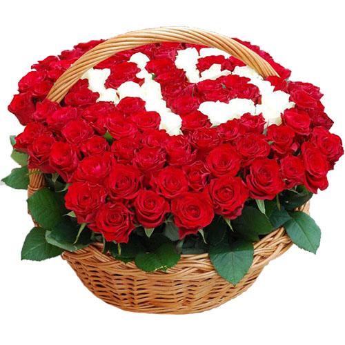 фото товара 101 роза в корзине с числами