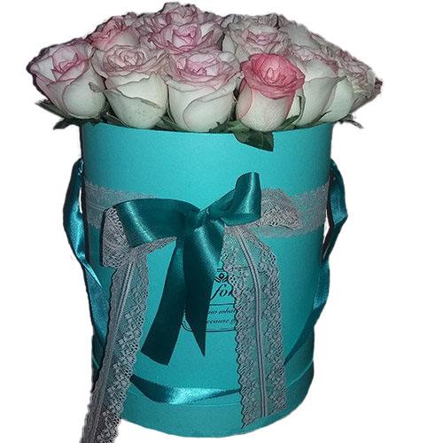 21 елітна рожева троянда Джумілія у фірмовій коробочці