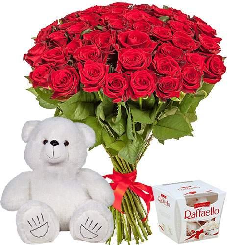 """подарунок 51 троянда, ведмедик і """"Raffaello"""""""