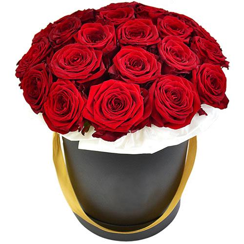 21 червона троянда в капелюшній коробці картинка