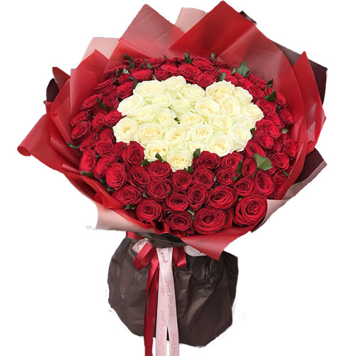 151 троянда серце червоні та білі