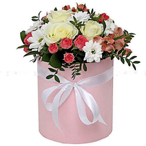 """букет Шляпная коробочка """"Розовая"""""""