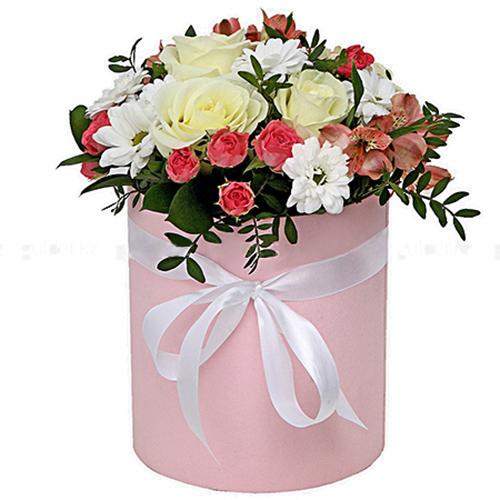 букет Капелюшна коробочка «Рожева»