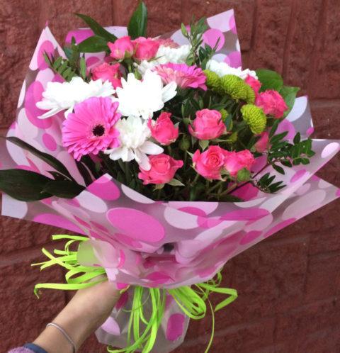 Мікс букет з троянд і альстромерій
