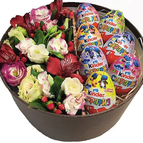 Коробочка з кіндерами та квітами фото