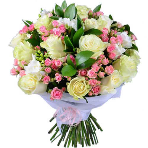 """Букет """"Біло-Рожевий"""" мікс квітів"""