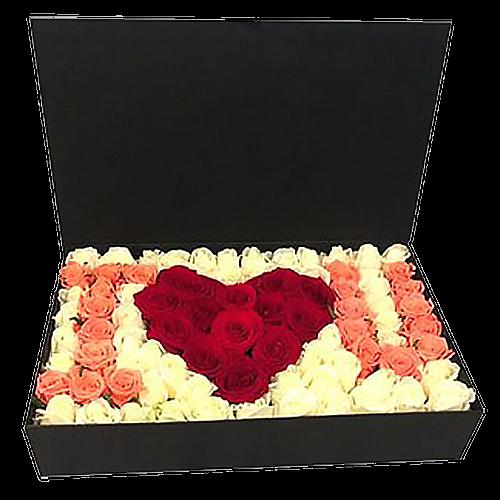букет 101 троянда в коробці «I love you»