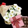 подарок 3 хризантемы с конфетами