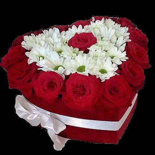 Коробочка «Повітряне кохання» червоні троянди, білі хризантеми