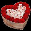 Коробочка «Солодке серце» червоні троянди та Рафаелло