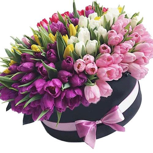 букет до свята 151 тюльпан у капелюшній коробці