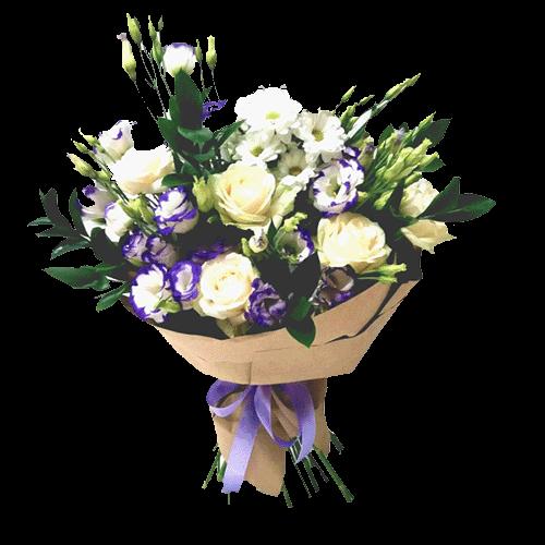Букет «Спокуса любов'ю» троянди, еустоми, хризантеми