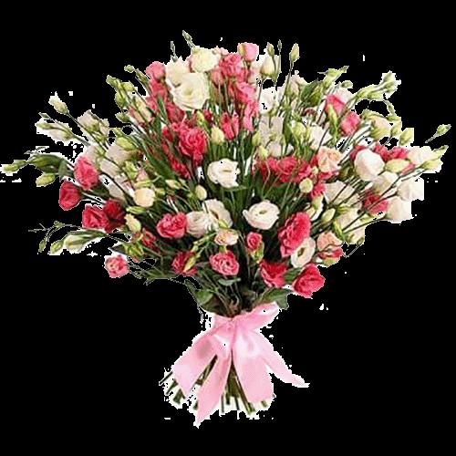 Букет «Бажання» білі та червоні еустоми