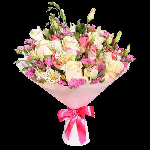 Букет «Щось чудове» троянди альстромерії