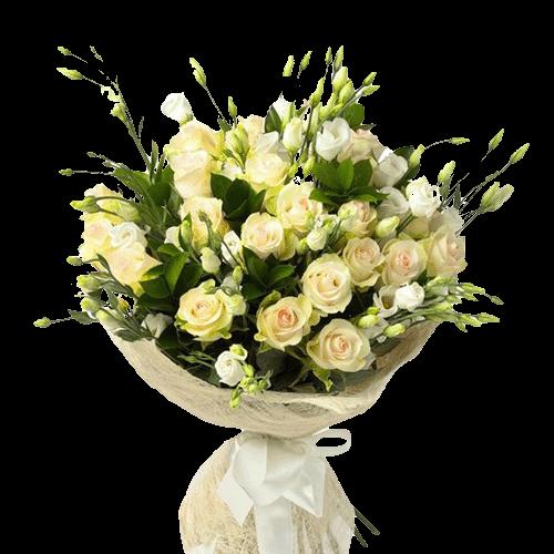 Букет «Улюблена» жовті троянди та еустоми