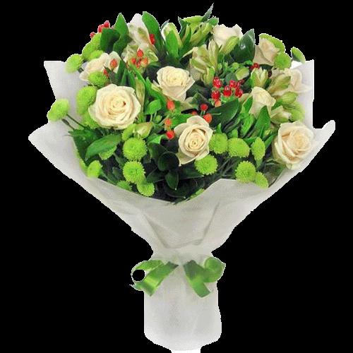 """Букет """"Юна леді"""" білі троянди та зелені хризантеми"""
