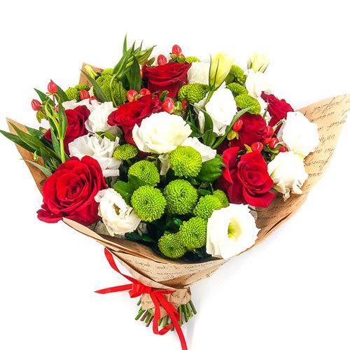 Букет «Ковток кохання» троянди, еустоми та хризантеми