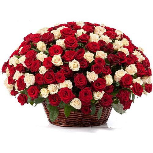 101 троянда мікс у кошику фото товару