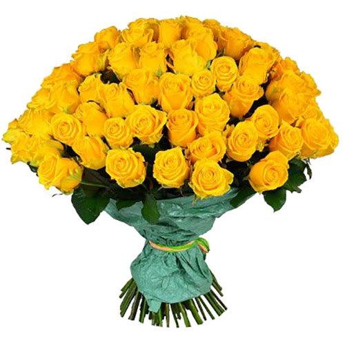букет 101 жовта троянда фото