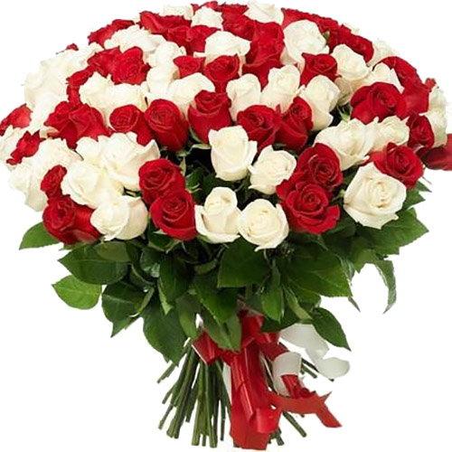 101 червона і біла троянда букет