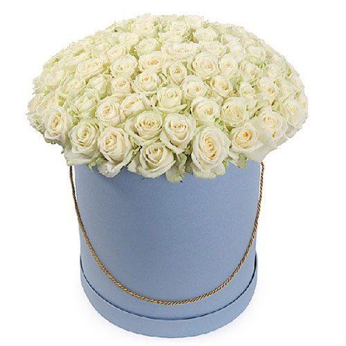 фото товару 101 троянда біла у капелюшній коробці
