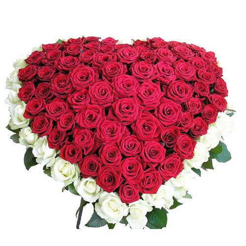 букет 101 троянда серце: червона та біла