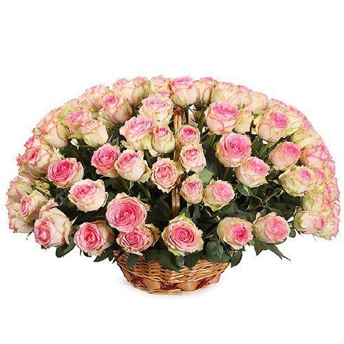 букет 101 рожева троянда в кошику