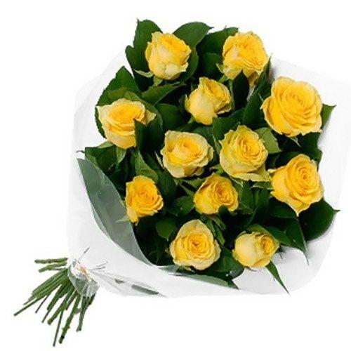 букет 11 жовтих троянд