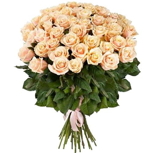 фото букета 51 кремова троянда