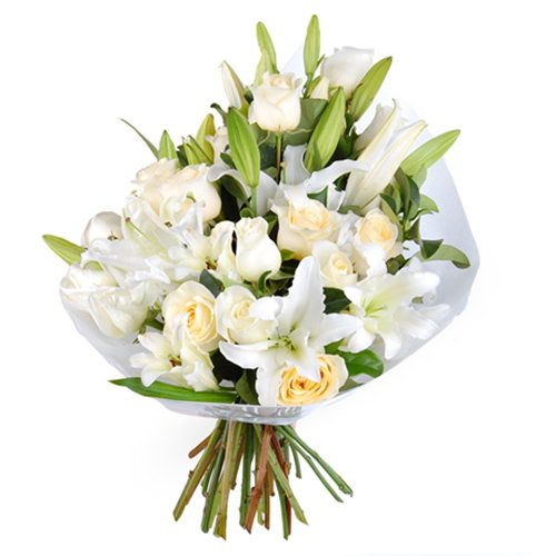 """Букет """"Дівоча чистота"""" білі лілії та троянди"""
