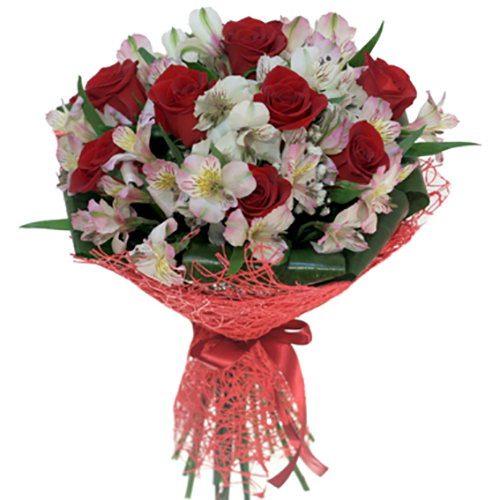 """Букет """"Корида"""" червоні троянди білі альстромерії"""