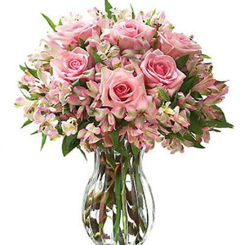 """Букет """"Ніжний настрій"""" рожеві троянди та альстромерії"""