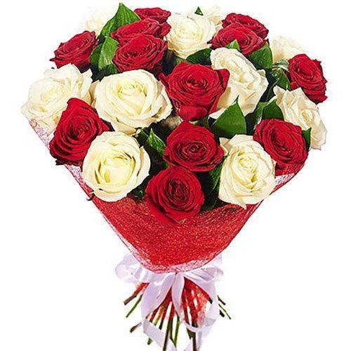 """Букет """"Спокуса"""" 21 біла та червона троянда"""