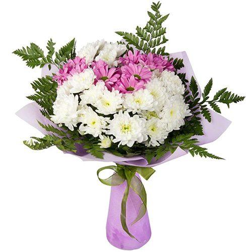 """Букет """"Сонечко"""" білі та рожеві хризантеми"""
