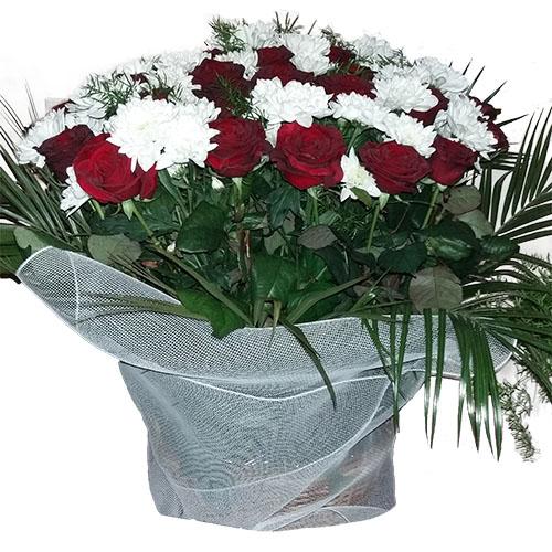 Квіти на похорон — кошик троянди та хризантеми