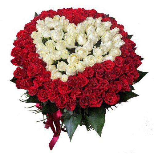 Сердце 101 роза белая, красная фото букета