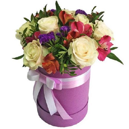 """Капелюшна коробочка """"Блюз"""" мікс квітів"""