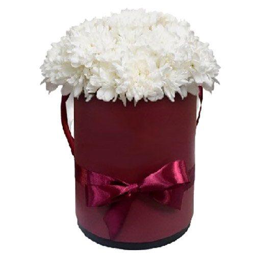 """Капелюшна коробочка """"Кучерява"""" білі хризантеми"""