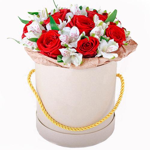 """Капелюшна коробка """"Привіт"""" червоні троянди білі альстромерії"""