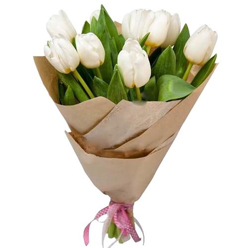 букет 11 білих тюльпанів фото