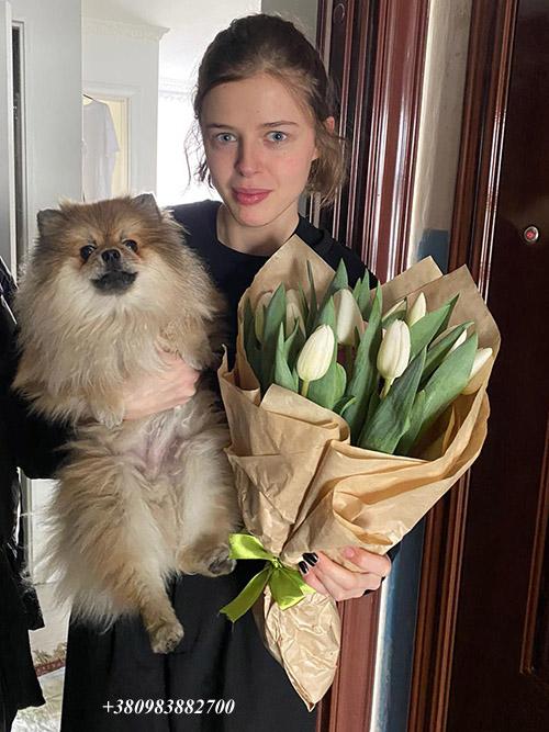 букет белых тюльпанов фото